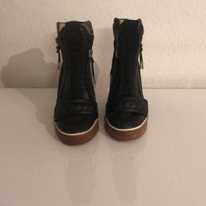 L.A.M.B | black leather sneaker wedges